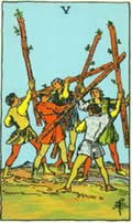 FIVE OF WANDS Card