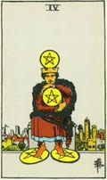 FOUR OF PENTACLES Card