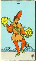 TWO OF PENTACLES Card